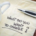 40235558 - what do you want to change? handwriting on a napkin with cup of espresso coffee