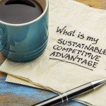 54242246 - what is my sustainable competitive advantage question - handwriting on a napkin with a cup of coffee